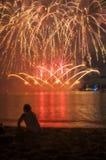 Olhando o fogo de artifício Imagem de Stock Royalty Free