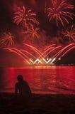 Olhando o fogo de artifício Foto de Stock Royalty Free
