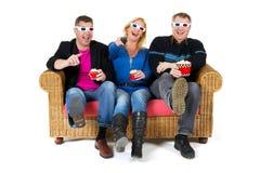 Olhando a televisão 3D Fotografia de Stock Royalty Free