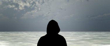 Olhando um oceano cinzento Foto de Stock Royalty Free