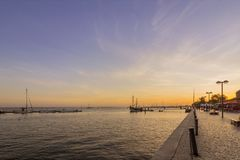 Olhao city market waterfront view to Ria Formosa sunset, Algarve. Portugal Royalty Free Stock Image