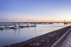 Olhao Marina dusk, the city is capital of Ria Formosa wetlands Royalty Free Stock Image