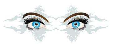 Olhar azul fêmea atrativo ilustração stock
