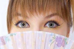 Olhar bonito dos olhos da menina Imagem de Stock