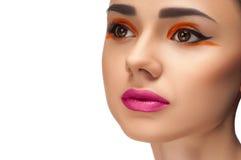 Olhar da alta-costura, retrato da mulher da beleza do close up Fotografia de Stock Royalty Free