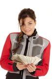 Olhar do dinheiro do ventilador da mulher do motociclista Fotos de Stock