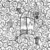 Olhar do gato para fora a janela, ilustração tirada mão Teste padrão sem emenda Vetor ilustração do vetor