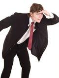 Olhar do homem de negócios para a frente no futuro. Imagem de Stock Royalty Free