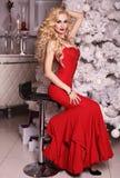 Olhar do Natal, mulher lindo que levanta na sala com decorações do Natal Foto de Stock