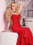 Olhar do Natal, mulher lindo que levanta na sala com decorações do Natal Imagens de Stock