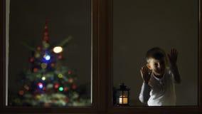 Olhar engraçado da criança cuidadoso na janela na noite para Santa Claus que vem, árvore de Natal, celebração grande de espera, c filme