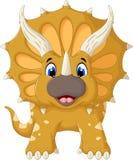 Olhar engraçado dos desenhos animados do Triceratops na câmera Fotos de Stock