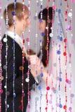Olhar feliz da noiva e do noivo em se Fotos de Stock Royalty Free