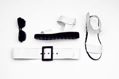 Olhar glamoroso das senhoras da forma estilo minimalista preto e branco Imagens de Stock Royalty Free