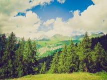 Olhar retro Cervinia o Vale de Aosta Fotografia de Stock Royalty Free