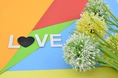 Olhar romântico com amor e símbolo da palavra flor artificial do amarelo do círculo, a verde e a branca no fundo do colourfull Foto de Stock Royalty Free