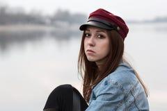 Olhar triste de uma menina do ruivo Foto de Stock