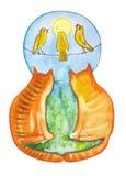 Olhar vermelho de dois gatos nos pássaros ilustração do vetor