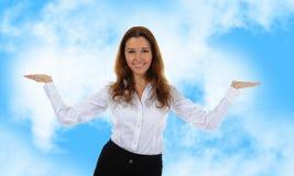 Olhares da mulher em sua palma aberta Imagem de Stock Royalty Free