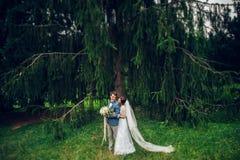Olhe de cima nos pares bonitos do casamento que beijam no eveni Imagens de Stock Royalty Free