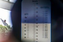 Olhe o mel interno da água de uma quantidade do açúcar do índice da medida do dispositivo do campo do refractometer 18 por cento  Fotografia de Stock