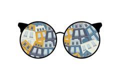 Olhe o mundo através dos vidros casas - ilustração ilustração do vetor