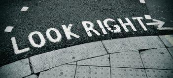 Olhe o sinal direito Fotografia de Stock