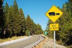 Olhe para o sinal de rua dos ursos Imagem de Stock Royalty Free