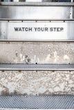 Olhe seu sinal da etapa em escadas fotos de stock royalty free