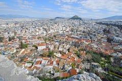 Olhe sobre Anafiotika, Atenas, Grécia Imagem de Stock Royalty Free