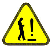 Olhe suas etapas não seu sinal de aviso do telefone Fotografia de Stock