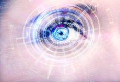 Olho abstrato com círculo digital Ciência futurista da visão e conceito da identificação Imagem de Stock