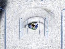 Olho abstrato com círculo digital Ciência futurista da visão e conceito da identificação imagens de stock