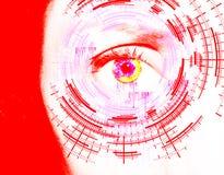 Olho abstrato com círculo digital Ciência futurista da visão e conceito da identificação imagem de stock royalty free