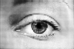 Olho abstrato da mulher feito dos pontos. Vetor Fotos de Stock Royalty Free