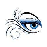 Olho azul da mulher com composição especial ilustração do vetor