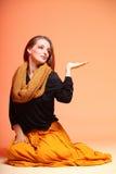 Olho-chicotes frescos da menina da mulher da fôrma do outono Foto de Stock