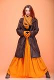 Olho-chicotes frescos da menina da mulher da forma do outono Imagens de Stock Royalty Free