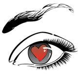 Olho com coração vermelho ilustração do vetor