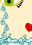 Olho com gotas e coração do rasgo Fotografia de Stock Royalty Free