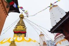 Olho da Buda em Swayambhunath, Nepal fotos de stock
