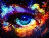 Olho da deusa e de espaço de cor fundo com estrelas Fotos de Stock Royalty Free