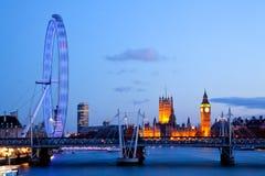 Olho de Londres com ben grande Fotos de Stock Royalty Free