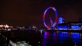 Olho de Londres em a noite Imagens de Stock Royalty Free