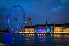 Olho de Londres imediatamente depois do por do sol Fotos de Stock