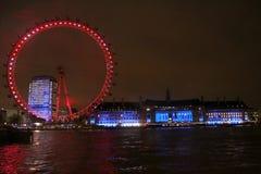 Olho de Londres na noite Imagem de Stock Royalty Free