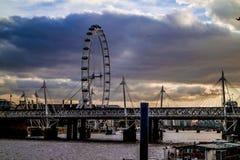 Olho de Londres no rio Tamisa Fotografia de Stock Royalty Free