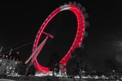 Olho de Londres preto e branco na noite Imagens de Stock Royalty Free