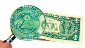 Olho de Providence na nota de banco do dólar Fotos de Stock Royalty Free
