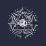 Olho devista da pirâmide da maçonaria Gravando o logotipo maçônico Olho do vetor da ilustração do providência Onisciência do símb Foto de Stock